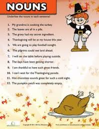 thanksgiving nouns worksheets thanksgiving and nouns worksheet