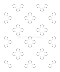 30 jigsaw puzzle blank template or cutting guidelines stock