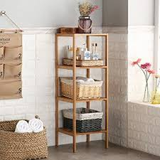Shelving Units For Bathrooms Finnhomy Bamboo Shelf Wood 4 Tier Bathroom