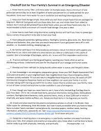 checkoff list u2013 family survival u2013 fp7 emergency plan