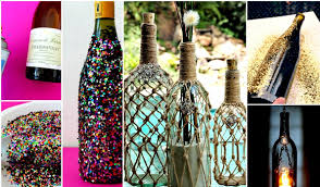 splendid room accessories made of wine bottles material with yarn