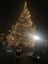 the tree is lit at washington square on plaza for 2017