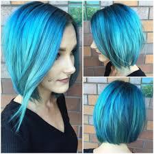 slightly angled long bob women s long slightly angled bob with allover aqua blue color medium
