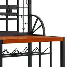 Metal Bakers Rack With Wine Storage Metal Bakers Rack Wood Iron Wine Storage Shelves Bar Steel Kitchen