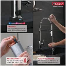 touch technology kitchen faucet faucet 9659t ar dst in arctic stainless by delta