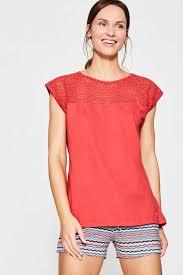Model Top 100 by Esprit Lace Panel Top 100 Cotton At Our Online Shop