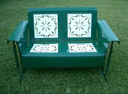 Retro Glider Sofa by Grass Green And White Old Paint Shabby Chic Loveseat Metal Porch