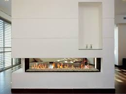 gas fireplace with panoramic glass linea 400 by british fires