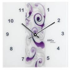 wanduhren modern ams quarz wanduhr florales design in violett ッ wanduhren ッ