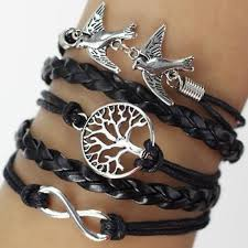black leather charm bracelet images Black leather wrap bracelet tree and dove charms from category jpg