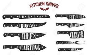 set of kitchen knives butcher knives on white background vector