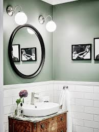 Green And White Bathroom Ideas Bathroom With Green Walls White Subway Tiles And Antique Vanity