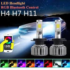 light bulb conversion to led 6000k white h7 h11 h4 car light bulbs rgbw cob led car headlight