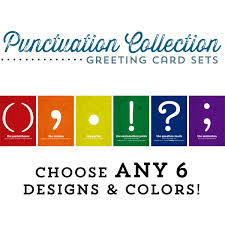 punctuation greeting cards set of 6 cards customizable cards