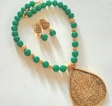 beads jewelry necklace images Green glass bead beaded jewellery set rs 455 number sreevee jpeg