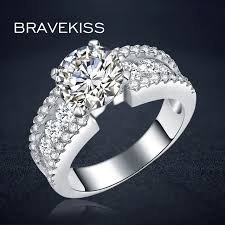 wide wedding bands bravekiss classic zircon accent solitaire rings for women