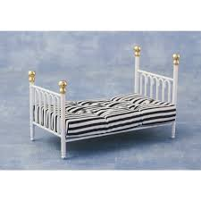 the dolls house emporium white u0027cast iron u0027 single bed u0026 covers
