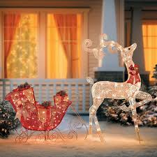 glittering reindeer sleigh lighted outdoor decoration