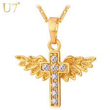 christian jewelry store aliexpress buy u7 angel wings cross pendant necklace gold