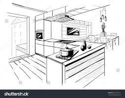 100 sketch of kitchen illustration of a doodle set of