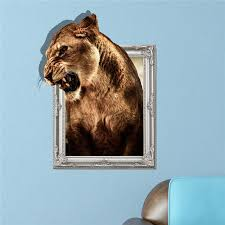 Lion Decor Home 3d Lion Wall Decal Animal Pag Sticker Removable Wall Hole Stickers