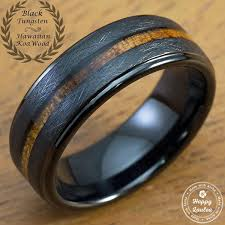 black weddings rings images Black tungsten carbide cross brush finish ring with koa wood inlay jpg