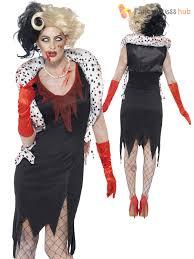 ladies zombie cruella costume black white wig evil womens