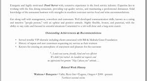 waiter resume sample resume sample for waiter position best of no experience waitress