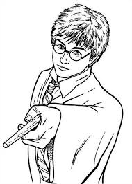 harry potter pointing magic wand coloring netart