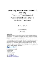 Inno Infr by Financing Infrastructure In The 21st Century The Long Term Impact