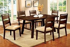 industrial dining room table amazon com furniture of america zaria 7 piece industrial dining