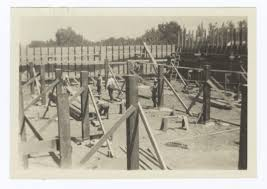 building under construction forms for the foundation and basement