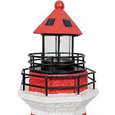 Lighthouse Garden Decor Amazon Com Sunnydaze Red Horizontal Stripe Solar Led Lighthouse