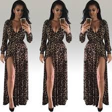 women deep v neck party houndstooth leopard pattern long