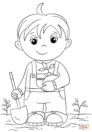 cute little boy holding seedling coloring page free printable