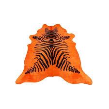 pouf en peau de vache tapis peau de vache cuir zebre orange de 3 5 m qualité française