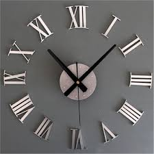 diy 3d roman numerals large luxury home decor mirror wall clock