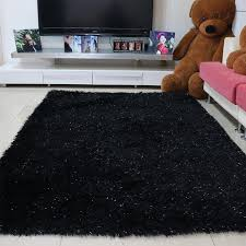 Area Rug Black Shaggy Black Area Rug With Glitter All About Rugs