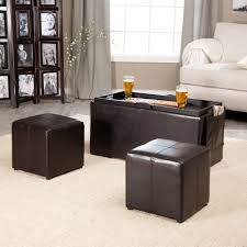 Black Storage Ottoman With Tray Coffee Table Storage Ottoman With Tray Side