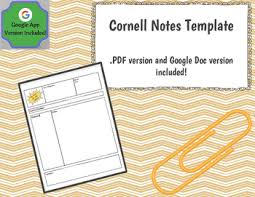 cornell notes template google docs version included my tpt