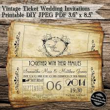 ticket wedding invitations vintage ticket wedding invitations printable diy jpeg pdf 3 6 x