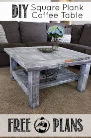 Free Wood End Table Plans by Square Coffee Table W Planked Top Free Diy Plans Coffee