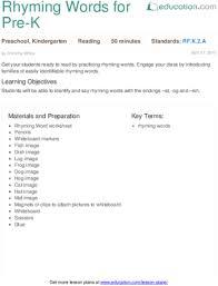 rhyming words for pre k lesson plan education com
