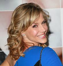 same haircut straight and curly julie benz medium funky blonde wavy curly hairstyle julie benz