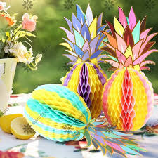 luau table centerpieces pack of 3 muti color paper pineapple shape honeycomb decor summe