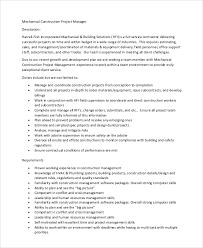 Mechanical Construction Estimating by Construction Project Manager Description Mechanical