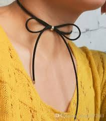diy black necklace images 2018 new korean designs women fashion jewelry black leather bow jpg