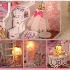 cuteroom diy wood dollhouse kit miniature with furniture doll
