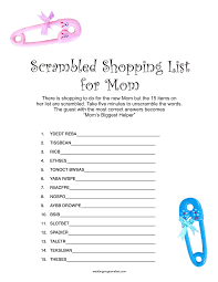 Free Baby Shower Scramble Games - baby shower games for large groups home design ideas