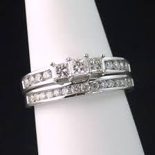 princess cut wedding set 14k white gold two 3 princess cut diamond wedding ring